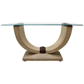 Art Deco Style Console Table in Shagreen, Zebra Wood and Glass Top