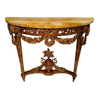 French Wood Gilt & Pierce Carved Marble Top Console