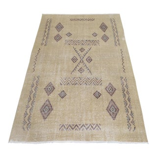 Moroccan Beni Ourain Style Turkish Oushak Rug Low Pile Rug - 4′10″ × 8′
