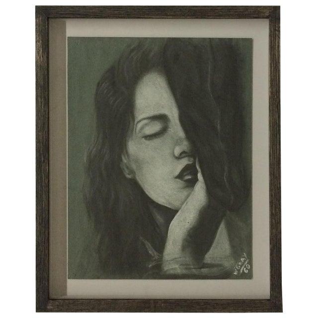 Image of Sleeping Women Pastel Drawing Signed W. Gray