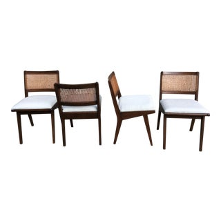 Mid-Century Cane & Rattan Dining Chairs - Set of 4