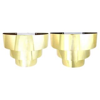 Art Deco-Style Brass Sconces, Pair