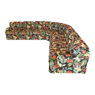 Large Drexel Heritage Tropical Print Sectional Sofa