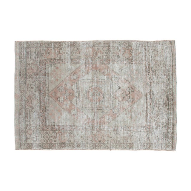 "Distressed Neutral Oushak Rug - 6'3"" x 9'3"" - Image 1 of 1"