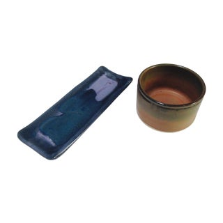 Modern Glazed Pottery Stoneware Platter & Dish