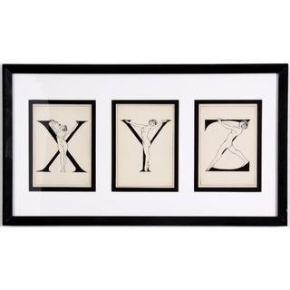"""Framed """"X, Y, Z"""" Drawing, Circa 1920"""