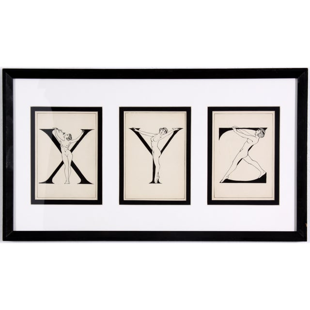 """Image of Framed """"X, Y, Z"""" Drawing, Circa 1920"""