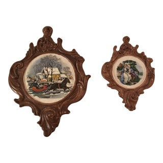 Vintage Mallory Ceramic Wall Plaques - A Pair