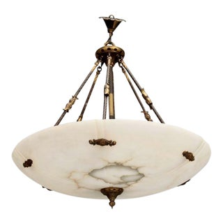 Large Italian Alabaster Neoclassical Style Fixture with Bronze Chain and Fittings