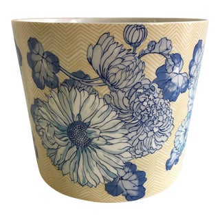 Vintage Fitz & Floyd Ceramic Blue & White Planter