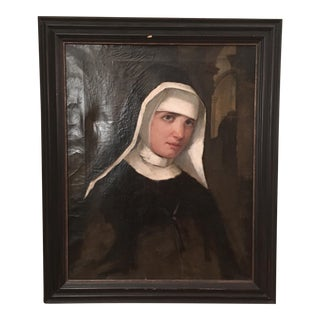 Antique Oil Painting of a Nun
