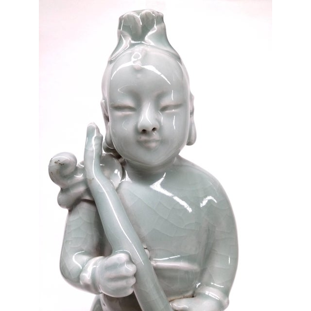 Image of Vintage Chinese Green Celedon Peasant Boy Statue