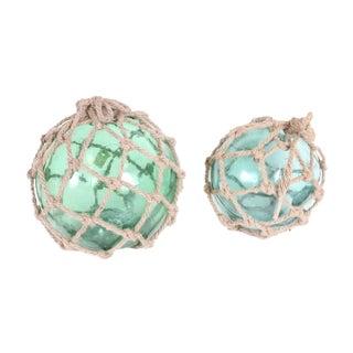 1920s Fishing Net Glass Floats - A Pair