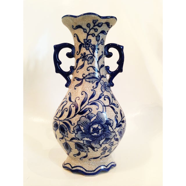 Vintage Blue & White Chinoiserie Crackle Vase - Image 2 of 6