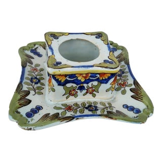 19th C French Faience Inkwell