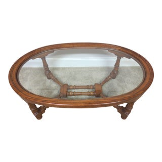 Pennsylvania House Oak & Glass Coffee Table