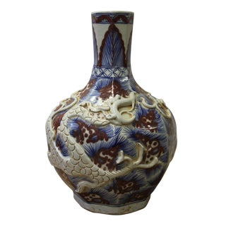 Chinese Handmade Ceramic Red Blue White Dimensional Dragon Vase