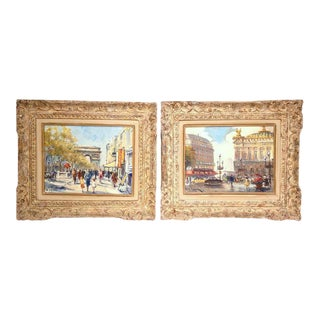 Early 20th Century Parisian Framed Paintings on Canvas - A Pair