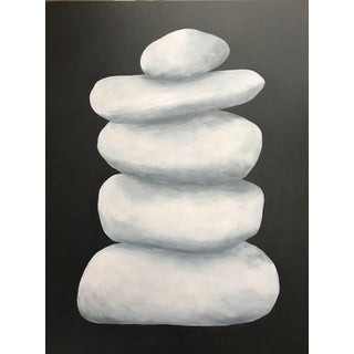 Towering Pale Cairn on Charcoal Gray by Stephanie Henderson