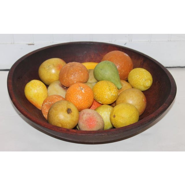 19th Century Wood Butter Bowl with Collection, 24 Pieces Stone Fruit - Image 4 of 9