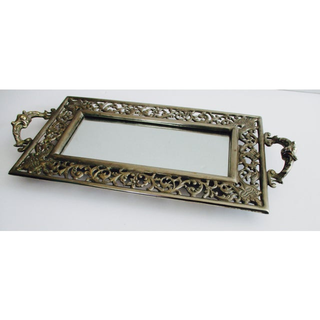 Vintage Ornate Silver Filigree & Mirrored Tray - Image 5 of 10