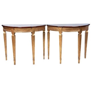 Pair of Cherrywood and Gold Demilune Tables