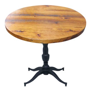 Round Pine Top With Victorian Pedestal Base Bistro Table