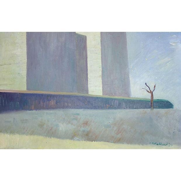 Image of Surreal Cityscape Painting by K. Walker