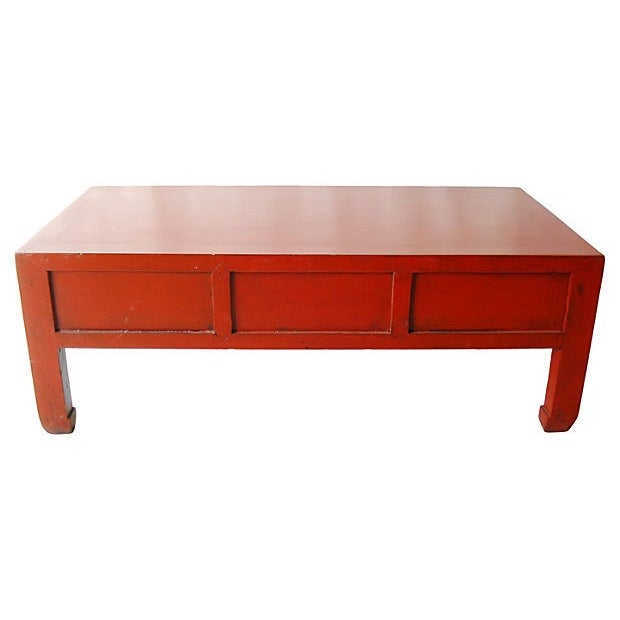 Red Lacquer Wood Coffee Table - Image 5 of 5