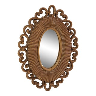 Mid-Century Modern Small Oval Decorative Wall Mirror