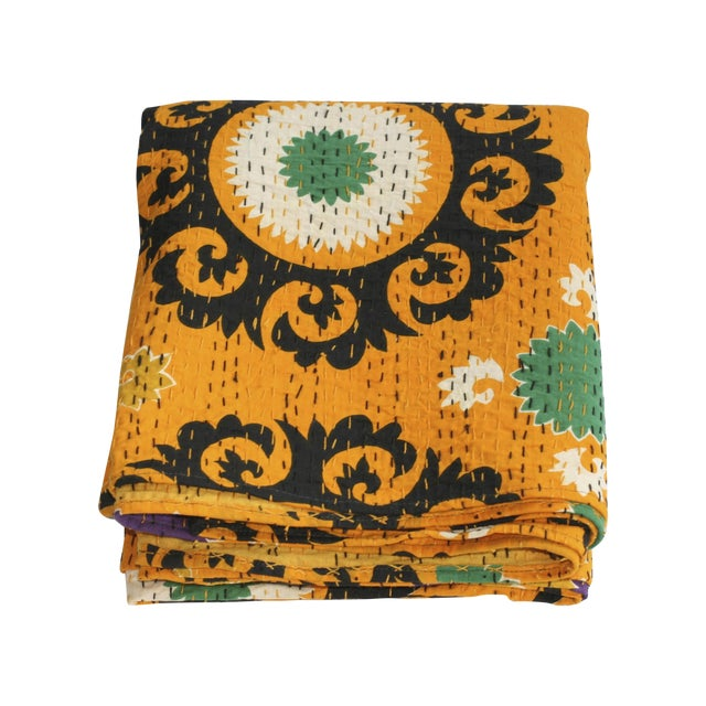 Yellow Kantha Suzani Throw - A Full - Image 1 of 4