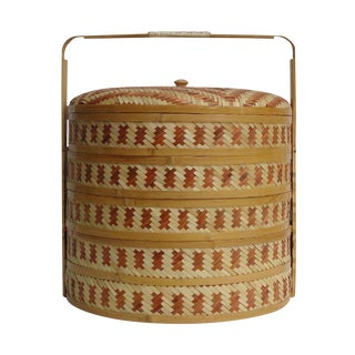 Handmade Chinese Brown Color Bamboo Strip Multi Tray Wedding Food Basket
