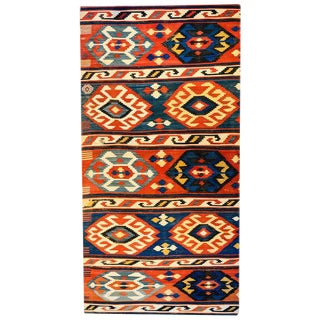Exciting Mid-20th Century Shriven Kilim Rug