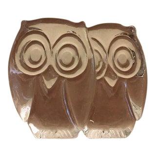 Cuddling Glass Owls Paperweight