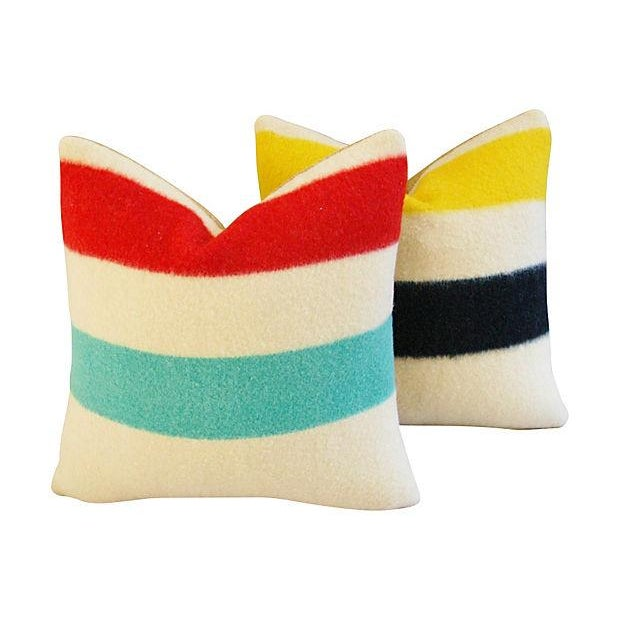 Authentic Hudson's Bay Blanket Pillows - a Pair - Image 1 of 7