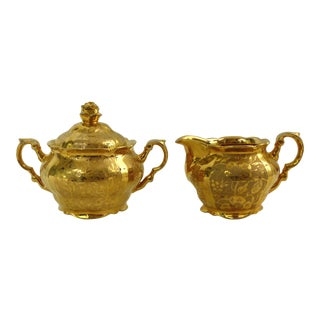 Vintage Gold Plated Creamer & Covered Sugar Bowl - A Pair