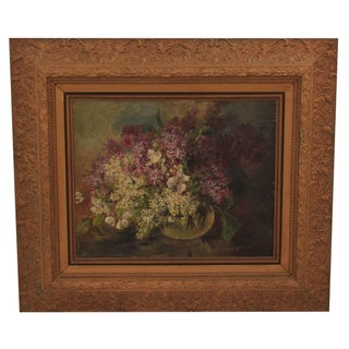Antique Oil Painting - Bouquet In A Glass Vase