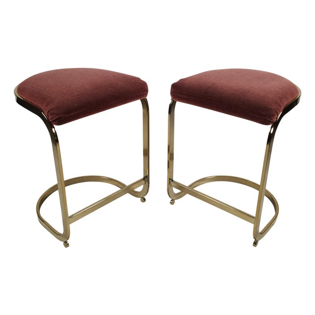 Milo Baughman Style Cantilever Bar Stools - A Pair - Image 1 of 7