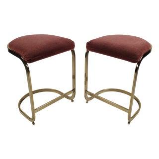 Milo Baughman Style Cantilever Bar Stools - A Pair