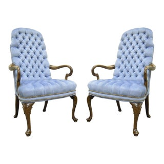 Vintage Queen Anne Ethan Allen Wingback Chairs - A Pair