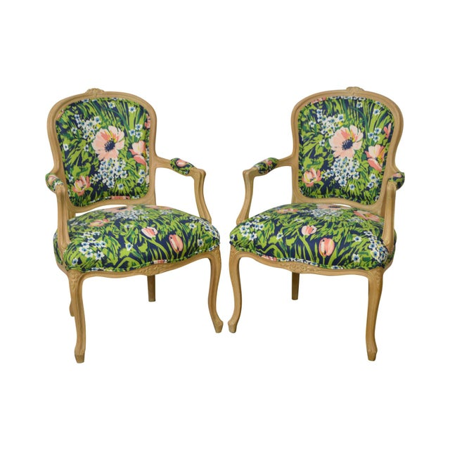 Woodmark French Louis XV Style Pair of Custom Upholstered Arm Chairs (B) - Image 11 of 11