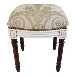 Vintage Fortuny Italian Lamballe Fabric Bench