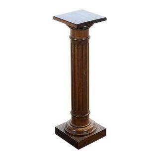 Antique Carved Colonial Walnut Pillar Pedestal