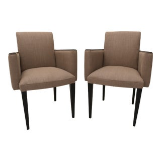 Pair of French Art Deco Armchairs, Ebonized Frames and Beige Linen Upholstery