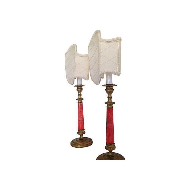Image of French Alabaster Candlestick Lamps = Pair