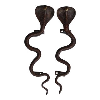 Large Red Brass Cobra Door Handles - A Pair