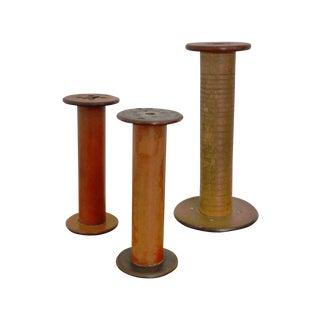 Wooden Bobbin Spools - Set of 3