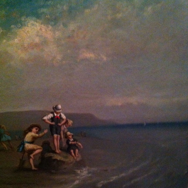 Antique French Painting Of Children On The Beach - Image 5 of 7