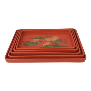 Chinoiserie Orange Lacquer Nesting Trays - Set of 5