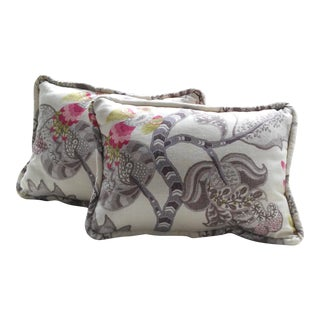 Chintz Gray & White Bird in Vines Pillows - a Pair